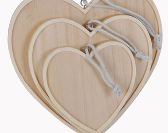 Basic outline to decorate, decoupage, set of 3 sets-wooden hearts