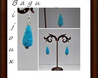 Earrings colored resin drip