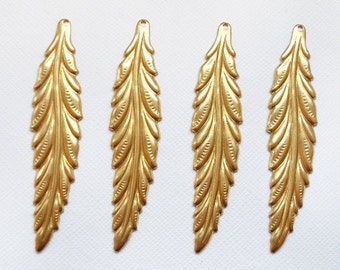 4 Raw Brass Long Leaf Pendants