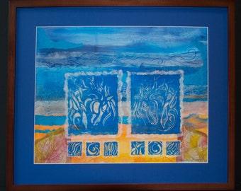 Mixed Media Horse Art Block Printing
