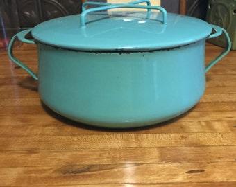 Vintage Dansk Turquoise Enameled Dutch Oven