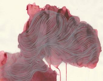 Fine Art Archival Print, Chalk and Acrylic, Elegant Unique Design, Fine Lines, Red Colors