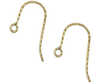 "French Glitter Ear Wires .030"" (0.76mm) - 2 Pair"