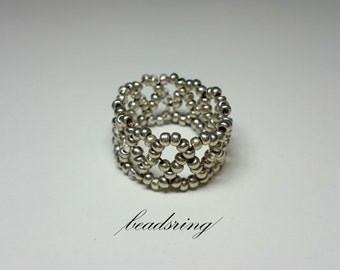 Duo (Silver beaded ring)