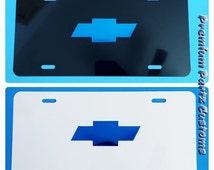 Chevy Bowtie License Plate Logo Vinyl Design Custom Made New Blue White Or Black Plates Impala Cruze Silverado Tahoe GMC Monte Carlo