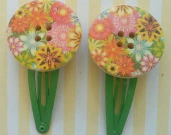 Floral Button Hair Clips - Pair - Colourful