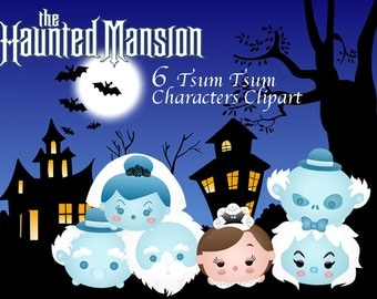 THE HAUNTED MANSION Tsum Tsum Clipart. 6 High Resolution Digital Clipart. Birthday Party. Halloween Party. Party Supplies.