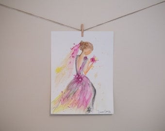 Girl in a Pink Dress Watercolor