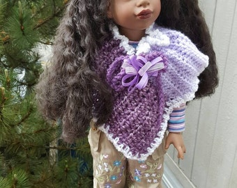 Fancy black doll.clothes,shoes and handmade poncho.