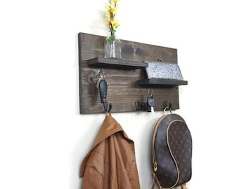 Entryway Organizer, Coat Rack, Mail Organizer, Entry Way Organizer, Key Holder for Wall, Key Holder, Key Hook for Wall, Wood Organizer