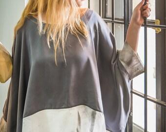 Natural silk grey tunic