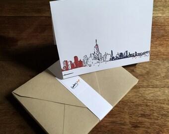Set of blank cards with patriotic New York City skyline