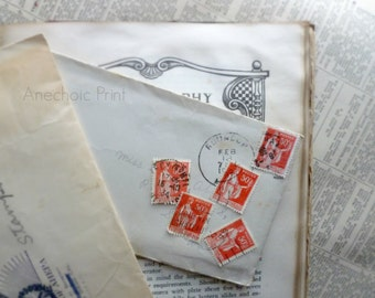 2 Vintage French Red Postage Stamps Peace with Olive Branch 1930s