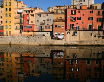 Spanish Buildings, Girona Photography, Reflection of Spain
