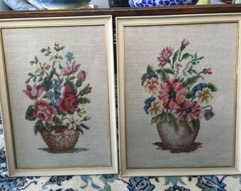 Antique Tapestry Pair of Framed Bouquets