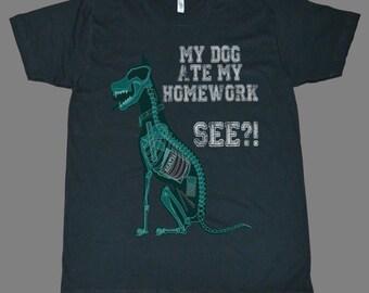 My dog ate my homework  Novelty Funny Gift printed on American Apparel black t-shirt men women tshirt tank tops S-5XL