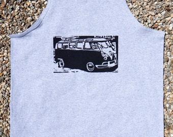 VW Bus, Cars, T's and Tanks, Retro, Hand Printed, Silk Screen, Block Print