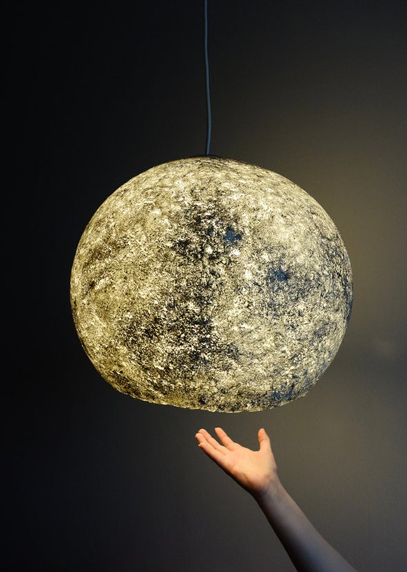 Items similar to moon lamp eco lamp paper mache lamp for How to make paper mache lamps