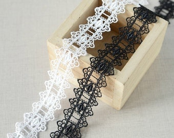 "20 yard 2.5cm 0.98"" wide black/ivory embroidery lace trim trims ribbon L22K196 free ship"