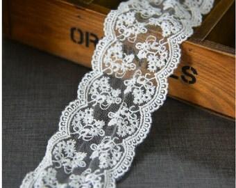 "10 yard 6cm 2.36"" wide ivory mesh embroidery lace trim ribbon L22K316 free ship"