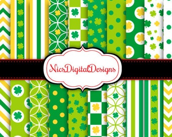 BUY 2 Get 1 FREE -20 Digital Papers. Shamrock Patterns 2 for St Patrick's (3F no 4) for Personal Use and Small Commercial Use Scrapbooking