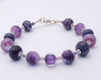 Purple lampwork beaded bracelet