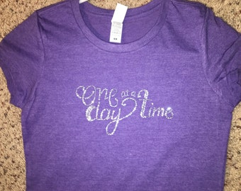 One day at a time rhinestone shirt