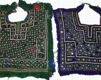 2 pcs Set of Ethnic Banjara Neck yoke By beautiful crafted with hand embroidery,mirror work and beaded work,Banjara fabric,vintage fabric