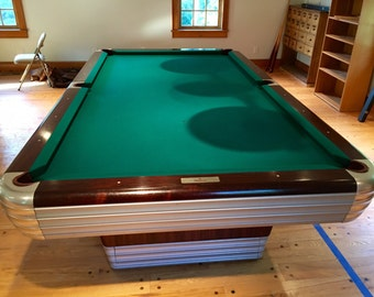 Fully Restored, Mid Century Brunswick Centennial Pool Table With Hanging  Lights