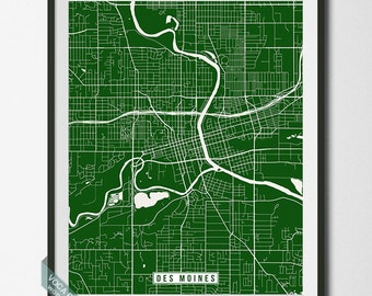 Des Moines Print, Iowa Poster, Des Moines Poster, Des Moines Map, Iowa Print, Iowa Map, Street Map, Home Decor, Independence Day