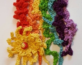 Over the rainbow. Brightly coloured crochet picture/florals/home decor.
