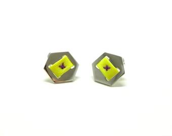 Hexagon shape sterling silver earrings