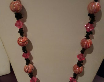 Pink glass and black glass chip necklace