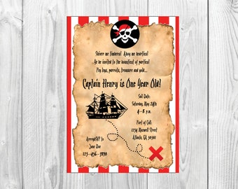 Pirate Birthday Party Invitation << Treasure Map Invitation >> Nautical Birthday Party Invite >> Custom Printable Digital File