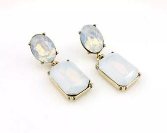 White opalescent drop earrings