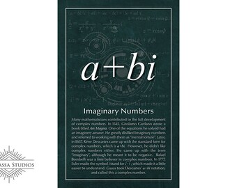 Math Poster, Complex Numbers, Imaginary Numbers, Equality, Printable Poster, Maths, Education