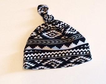 aztec knotted baby hat, baby hat, newborn hat, gender neutral baby hat