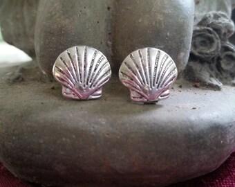 Scallop Shell Stud Earrings -- Camino de Santiago