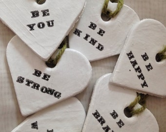 Be... shabby-chic love heart plaques with rustic garden-twine hanging