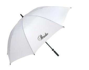 Wedding favour umbrella personalised custom unique bride groom