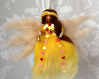 Summer - wool felt hanging fairy decoration