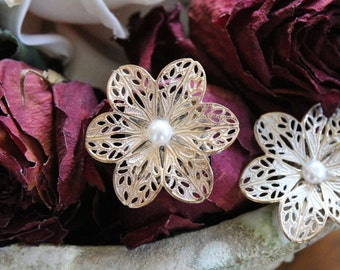Vintage Ivory & Gold Blossom with Pearl; Shoe Clip/ Broche Clip or Broach Swags Ornament