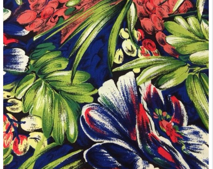 Floral Rayon Challis Fabric (Wholesale Price Available By the Bolt) USA Made Premium Quality - 014 1 Yard