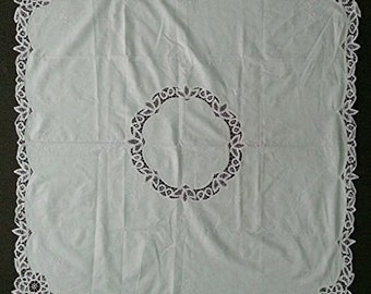 "Vintage Handmade Battenburg Lace Embroidered Table Cloth 100% Cotton Square Approximately 45"" X 45"""