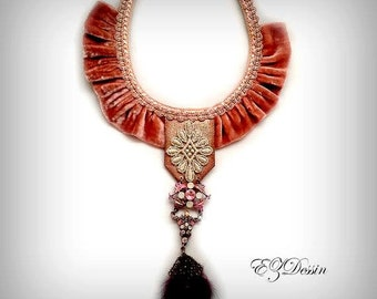 Baroque era Victorian style  Romantic shabby shic  braided textile antique velvet ,rubbons vintage   Bohemain stile victorian necklace