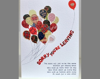 Special Wishes Sorry You're Leaving Balloons Card SW BV01