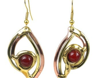 Carnelian and Brass Handmade Earrings