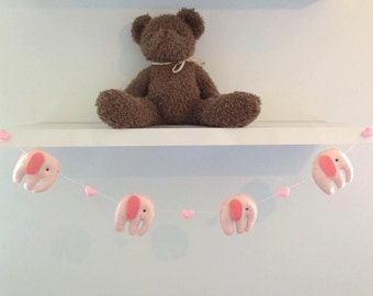 Felt Elephant and Heart Garland,banner. Pink and Rose Pink Nursery, baby gift,