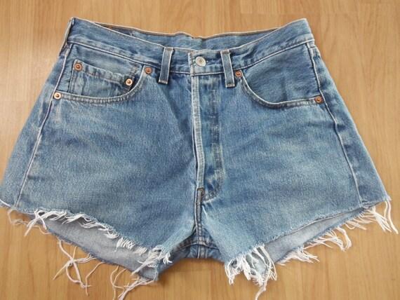 Levi Shorts - Pale Blue Bleached Washed Out Denim - W31 S M - Vintage