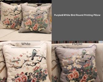"Luxury Purple/White Bird Round Printing Pillow Cover 18""X18"""